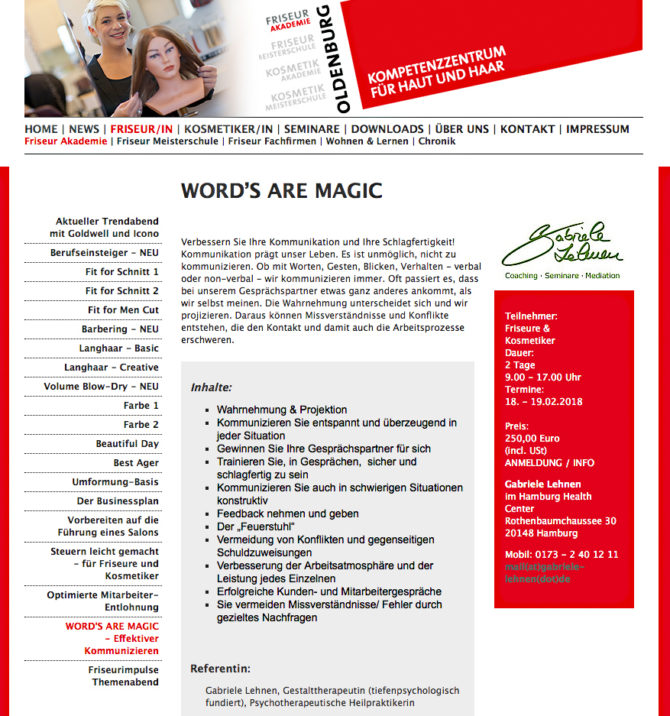 "Friseur Akademie Oldenburg - Seminar ""Word's are Magic"""
